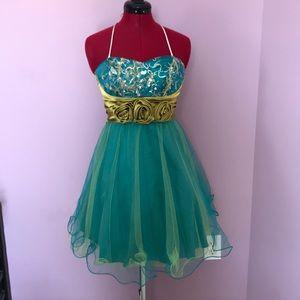 Blue and green semi formal dress